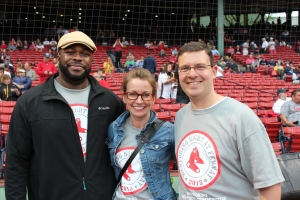 Ed at Mentoring Night at Fenway Park, one of the activities he helped coordinate. With him are MMP Director of Development & Partnerships Vanessa Plant and Director of Marketing & Public Awareness Rich Greif