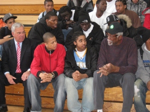 Bill Russell and Mayor at Charlestown High 024