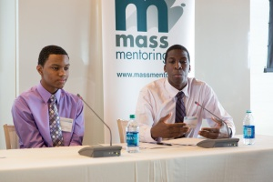Waseem and Jazeel, a match from the Blue Scholars Program speak at the Youth Mentoring Forum at State Street in 2013 (photo courtesy Scott M. Lacey)