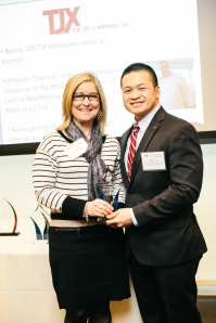 TJX rep Kelley Lederer with Jeffrey Chin. Kelley is also a Big Sister. Photo courtesy Henry + Mac